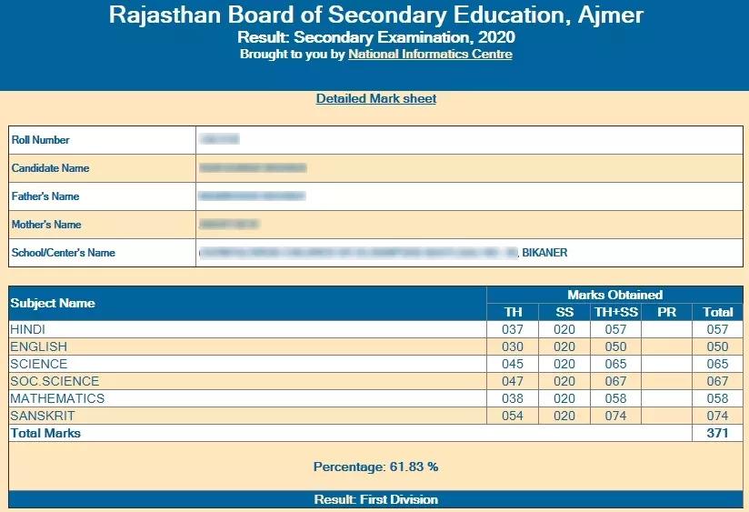RBSE Ajmer 10th Result