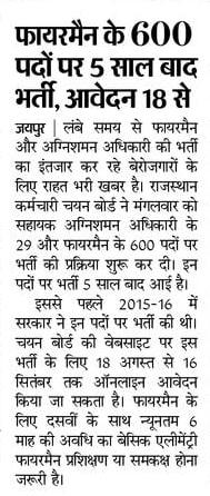 Rajasthan Fireman Bharti 2021