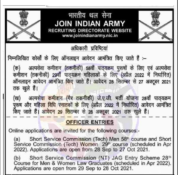 Indian Army 58th SSC (Men) 29th SSC (Women) Recruitment 2021 Apply Online