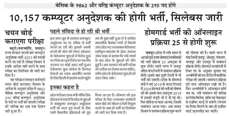 Rajasthan Computer Syllabus 2021 Download PDF